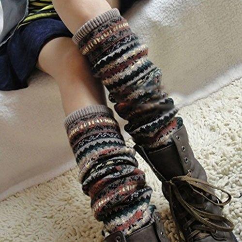 GGG Neu Frauen Winter Warm Lang Beinstulpen Häkelarbeit Socken Legging Strumpf (Khaki)