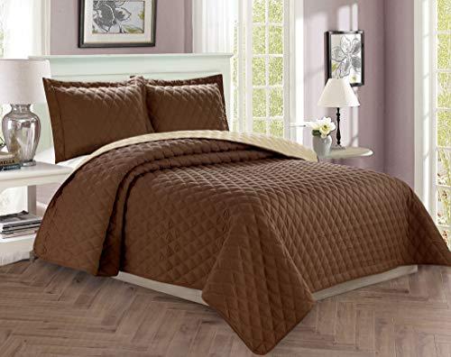 Elegant Comfort Luxus-Tagesdecke, gestepptes Diamant-Design, für alle Jahreszeiten, schweres Gewicht, Knitter- & lichtwiderstandsfähig, Doppelbett, Schokoladenbraun / cremefarben