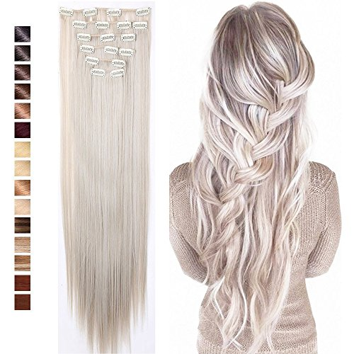 26' Straight Ash Blonde Mix Silver Grey Clip In Hair Extension 8pcs 18Clips Synthetic Heat Resistant Hairpieces Full Head Curly Straight For Women Girls(26' Straight,Ash Blonde Mix Silver Grey)