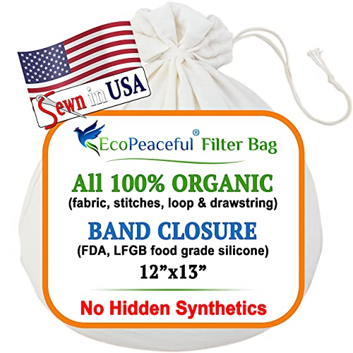 EcoPeaceful Strainer Nut Milk Bag Organic Cotton Cold Brew Coffee Bags Reusable Extra Fine...