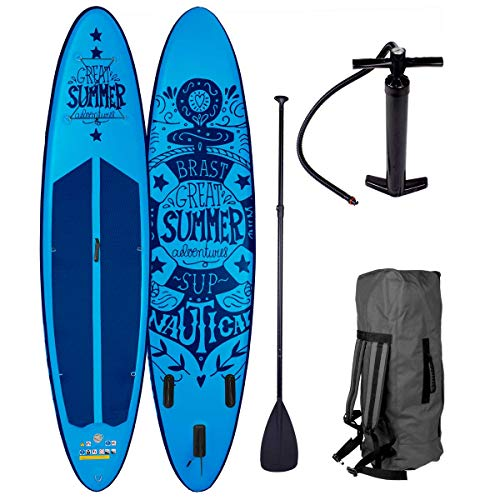 SUP Board Stand up Paddle Paddling Summer Blau 320x76x15cm aufblasbar Alu-Paddel Hochdruck-Pumpe Rucksack 120KG