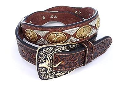Mens Womens Western Cowboy Cowgirl Gold Prayman Ring Concho Longhorn Horse Prayer Bull Rider Rooster Star Shiny Leather Belt 111D Bullrider CF M