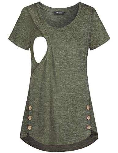 Quinee Women's Casual Button Side Nursing Tops Maternity Breastfeeding Tunic, Olive Green, XX-Large