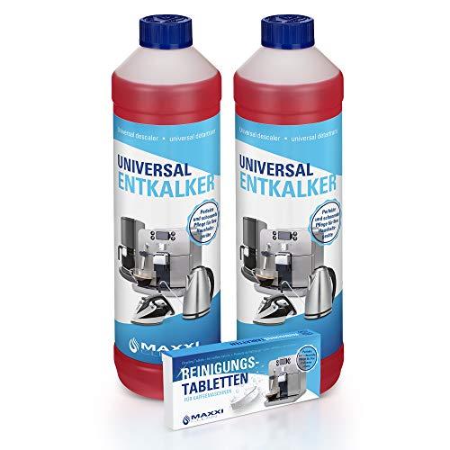 Pflegeset für Kaffeevollautomaten 2x flüssiger Entkalker 750ml und 10x 2g Reinigungstabletten