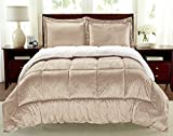 Cathay Home Fashions Reversible Faux Fur and Sherpa 3 Piece Comforter Set, King, Carmel