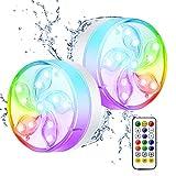 ShinePick Luz de estanque, impermeable para piscina subacuática, multicolor RGB 11 cuentas LED con control remoto de RF, luz de tina para piscina SPA jarrón base estanque (2 piezas)
