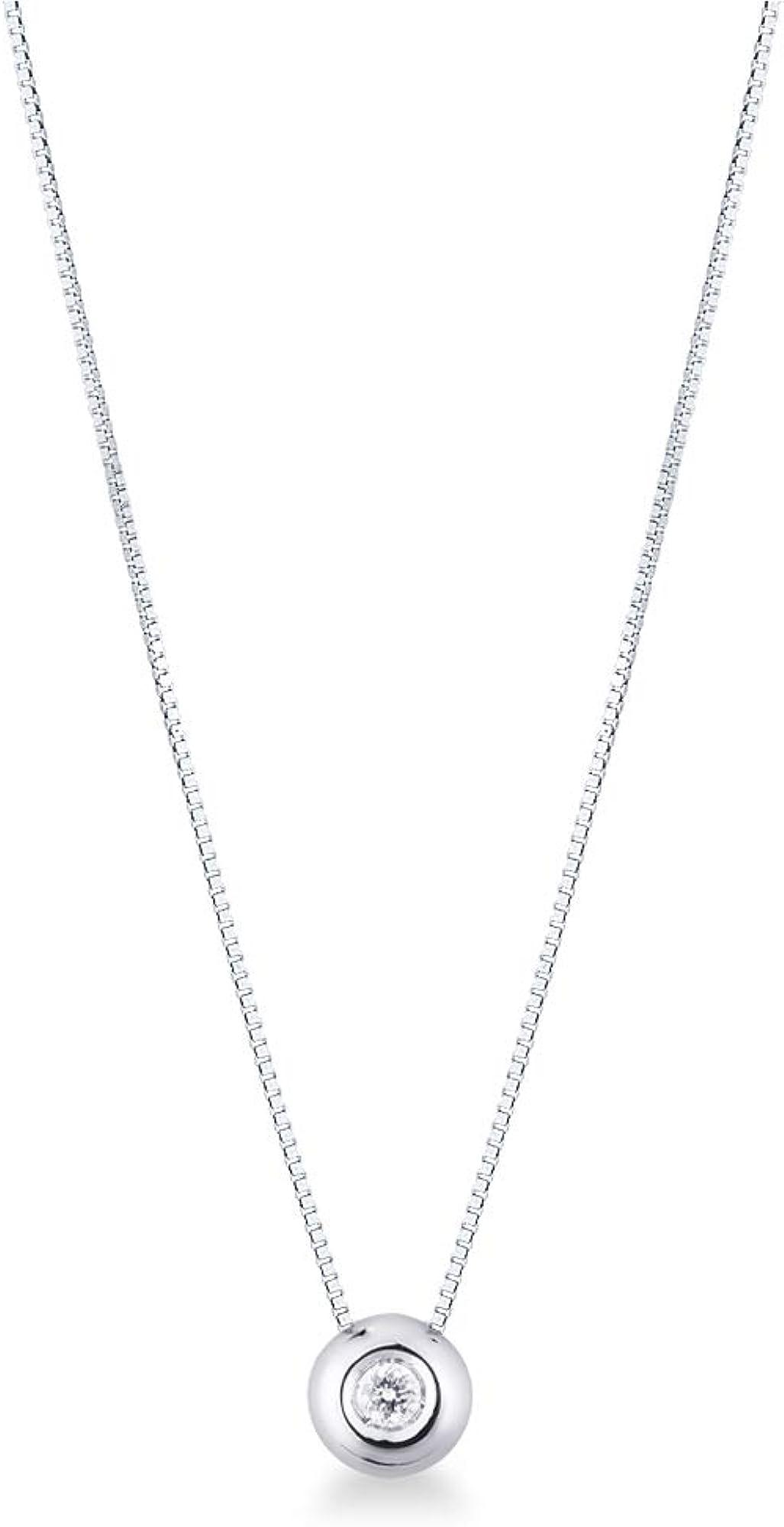 Collana punto luce in oro bianco 18k con diamante 0,05 carati gioielli di valenza PU01005BB