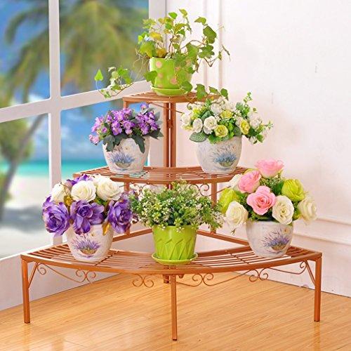 & Pot rack Porte-grille en fer, étagère à 3 étages Présentoir Bonsai Maison Jardin Décor de patio étagères noir/or/blanc Pots à fleurs décoratifs (Couleur : Or, taille : 84 * 60 * 60CM)