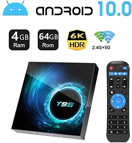 Android TV Box 10.0,HOMI T95 Android Box 4GB RAM 32GB ROM Allwinner H616 Quad-Core Soporte 6K 3D 2.4/5.0GHz WiFi 10/100M Ethernet DLNA HDMI 2.0 BT 5.0 Smart TV Box