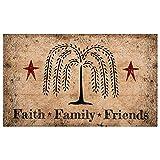 Blossom Bucket Faith Family Friends Natural Brown 18 x 30 Polyester Decorative Floor Door Mat