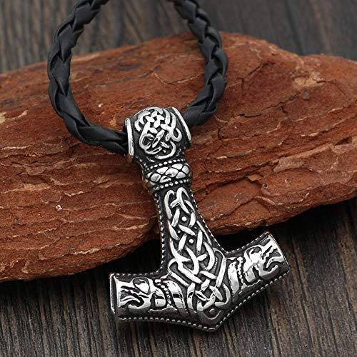 Serired Collar Mjolnir de Martillo de Vikingo Thor, Amuleto Colgante de Nudo Celta de Acero Inoxidable para Hombres Nórdicos con Cuerda de Cuero Trenzada Negra de 60 CM
