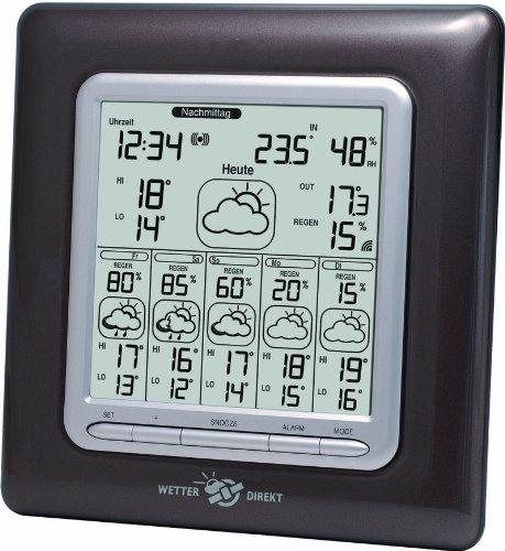 Technoline WetterDirekt Wetterstation WD 6003 mit Innen- / Außentemperaturanzeige, Wettervorhersage für 6 Tage und Wetterdaten für 150 Urlaubsorte,19 x 3 x 19,5cm