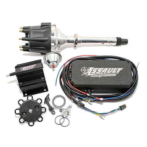 Assault Racing Products 1535032 Chevy V8 Pro Billet Black Vacuum Advance Distributor Coil Ignition Box Kit SBC BBC 327 350 396 454