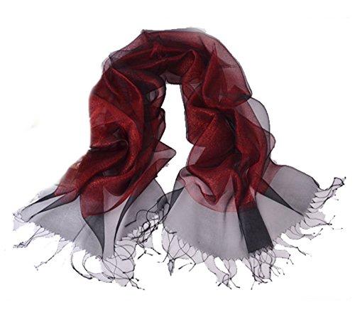 LadyMYP 200 * 65 cm Luxus Doppel Stola Schal aus Seide & Faden oder Seide & Baumwolle mehr Farbig (weinrot)
