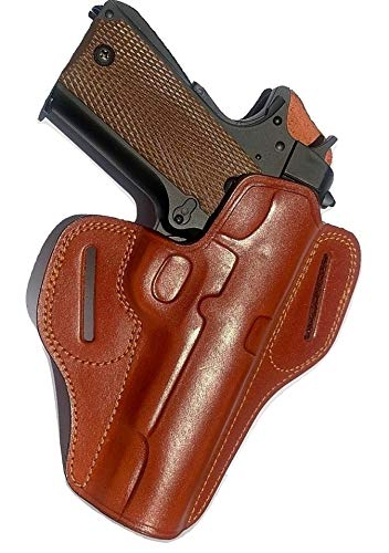 Aysesa 1911 Leather Gun Holster w/Sweat Guard | OWB Fast Draw | Fits Most 1911 Style Pistols - Kimber - Colt - S & W - Remington - Sig Sauer - Ruger | Right Handed | Handgun Holster Tan Brown