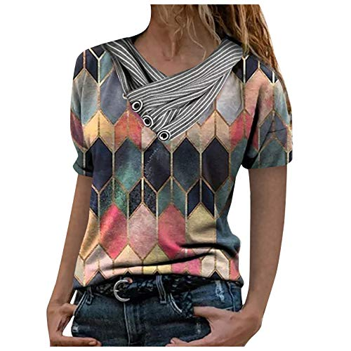 Dosoop Short Sleeve Tshirts Shirts for Women Loose Fit Soft Geometric Color Block Button Wrap Folds V Neck Tops Blouse Tee