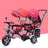 TZZ Bebé del triciclo reclinado del asiento doble, ajustable con dosel, arnés...