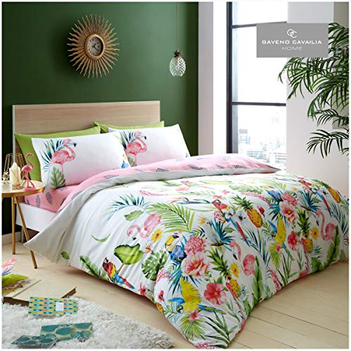 Gaveno Cavailia Birds & Tropical Flowers Duvet Cover Quilt Bed Set With Pillow Case, Reversible, Poly Cotton, Leila White, King Size Bedding