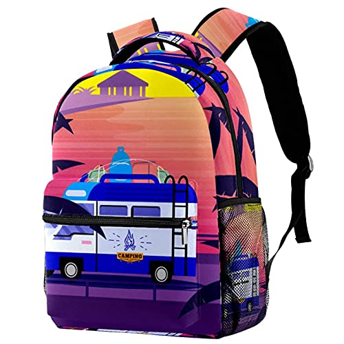 Mochila para Niños Coche al Atardecer en la Playa Mochila Escolar Impermeable Backpack Bolsa para la Escuela impresión Mochilas Infantiles para la Escuela Viaje 29.4x20x40cm