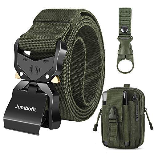 Jumbofit Tactical Belt for Men and Women, Military Belt Rigger 1.5 Inches Nylon Webbing Belt with Heavy-Duty Quick-Release Buckle, Gift with Molle Pouch & Water Bottle Clip (Upgrade)