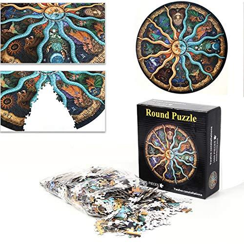 Rompecabezas Circulares 1000 Pieza,Rompecabezas del Zodiaco del horóscopo Puzzle DIY constelación Rompecabezas de descompresión creativos