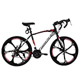 Road Bike, Shimanos Full Suspension 700c Racing Bike, High Carbon Steel Frame City Commuter Bicycle with 21 Speeds Dual Disc Brake, Urban Track Bike for Women&Men