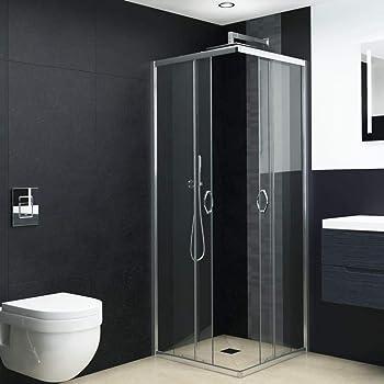 Mampara de Ducha Angular cabina de ducha mampara de ducha cuadrada Puerta Corredera Cristal 5 MM perfilería gris mate 100x76x185cm: Amazon.es: Bricolaje y herramientas
