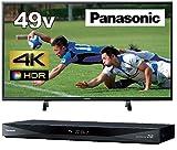 パナソニック 49V型 4K 液晶テレビ ビエラ HDR対応 TH-49FX500 + 1TB 2チューナー ブルーレイレコーダーDIGA DMR-BRW1060