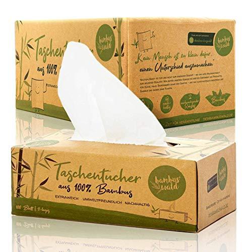 bambuswald© nachhaltige Taschentücher 100% Bambus | 24x Boxen á 100 Blatt - 3 lagig saugstark & gebleicht | holzfreies Papiertaschentücher in plastikfreier Verpackung | Nasentüscher Schneuztuch