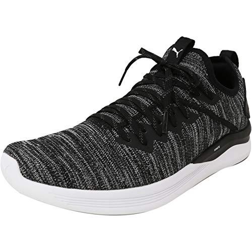 PUMA Men's Ignite Flash EvoKNIT Sneaker, Black-Asphalt White, 10 M US