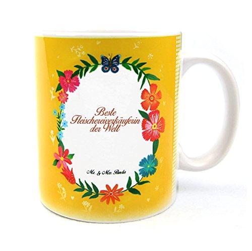 Mr. & Mrs. Panda Tasse Design Frame Happy Girls Beste Fleischereiverkäuferin der Welt - Beruf Berufe Ausbildung Abschluss Berufsausbildung Geschenk Schenken Studium Diplom Bachelor Berufsschule Gratulation Danke Bedanken Dankeschön Tasse, Tassen, Becher, Kaffeetasse, Kaffee, Geschenkidee, Geschenk, Tee, Teetasse, Tee, Cup, Schenken, Frühstück