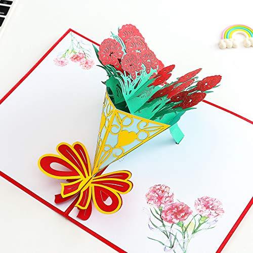 3D Pop up Tarjetas y Sobres/Tarjeta de felicitación desplegable para cumpleaños/Navidad/Año Nuevo/Dia de la madre/aniversario/San Valentín/boda/graduación/gracias(Rosa)