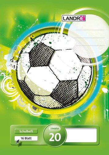 Landre Schulheft A4, Lineatur 20 (blanko), 16 Blatt, 3 Motive sortiert, grün, 10er Pack