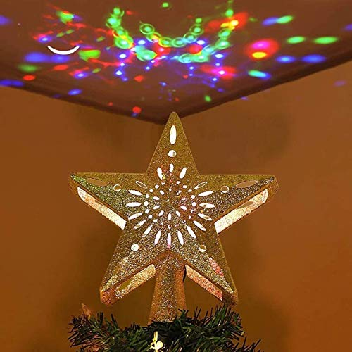 LJYY Star Christmas Tree Topper LED Star Top Snowflake Projector Christmas Tree Decor Holiday XMAS Party Hanging Ornament