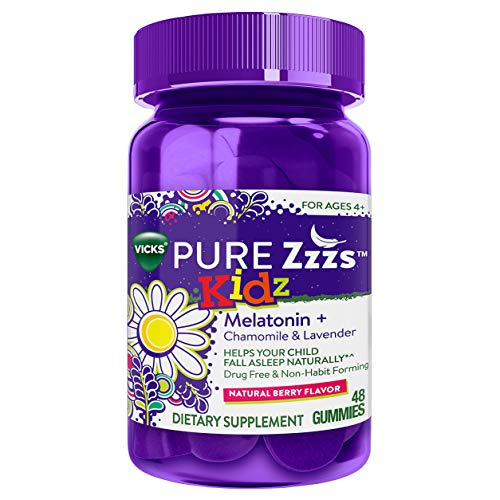 Vicks PURE Zzzs Kidz Melatonin Lavender & Chamomile Sleep Aid Gummies for Kids & Children, Natural Berry Flavor, 0.5mg per gummy, 48 Count