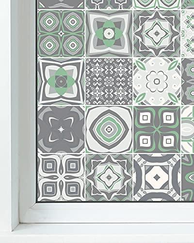 Panorama Vinilo para Ventanas Baldosa Hidráulico Verde 60x200 cm - Vinilos para Ventanas Adhesivo - Vinilo Opaco para Cristal - Pegatina Privacidad - Vinilo Ducha - Vinilo Translúcido Cristales