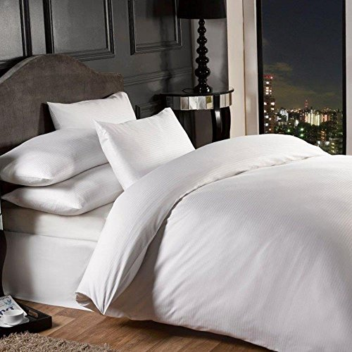 Grovesnor Satin Stripe Cotton Rich 1000 Thread Count Duvet Cover Bedding Set, Super King Size, Polycotton, White