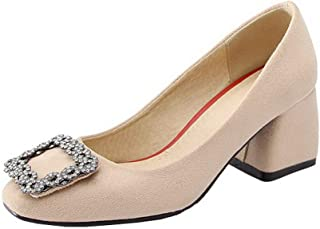 VogueZone009 Women's Frosted Square Toe Kitten-Heels Solid Pumps-Shoes,CCADP011779