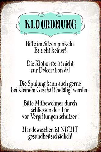 Kloordnung Toilettenordnung Klo Toilette Regeln Metallschild Schild gewölbt Metal Tin Sign 20 x 30 cm