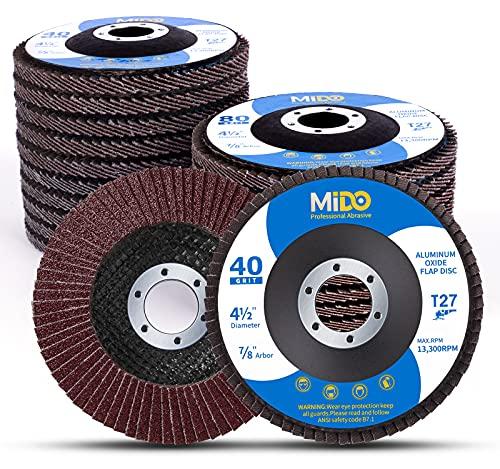 MIDO Professional Abrasive 4 1/2 Flap Disc 20 Pack Abrasive Wheels & Discs Assorted Grit 40 60 80 120 Aluminum Oxide Sanding Grinding Wheels 4.5 x 7/8 Inch Flat Type #27