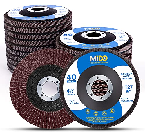 MIDO Professional Abrasive 4.5 Flap Disc 20 Pack Flap Discs Assorted Grit 40 60 80 120 Aluminum Oxide Sanding Grinding Wheels 4.5 x 7/8 Inch Flat Type #27