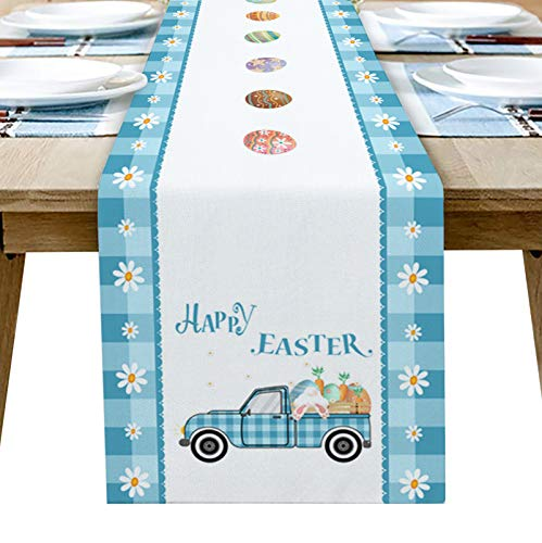 Dining Table Runner Dresser Scarf Linen Burlap Fabric,Happy Easter Truck Pull Bunny Blue Buffalo Plaid Border Washable Table Runners 70 Inches Long for Farmhouse Home Kitchen Wedding Party Decor