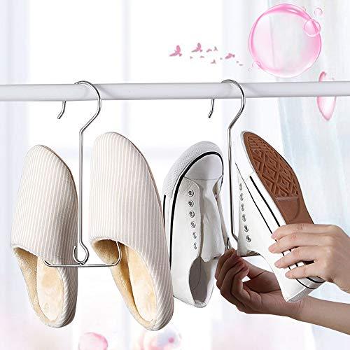 Juego de 2 Percha de Secado de Zapatos, Acero Inoxidable Estante de Secado de Zapatos Perchas para Racks de Secado para Colgar Zapatos, Cinturones y Corbatas Rack de Múltiples Funciones