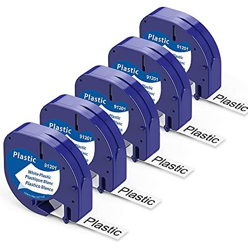Unistar - Cinta de Etiquetas compatible para usar en lugar de Dymo Letratag Cinta Etiquetas plastic 12mm x 4m negro sobre blanco S0721610 para Etiquetadoras LT-100h LT-100T LT-110T XR