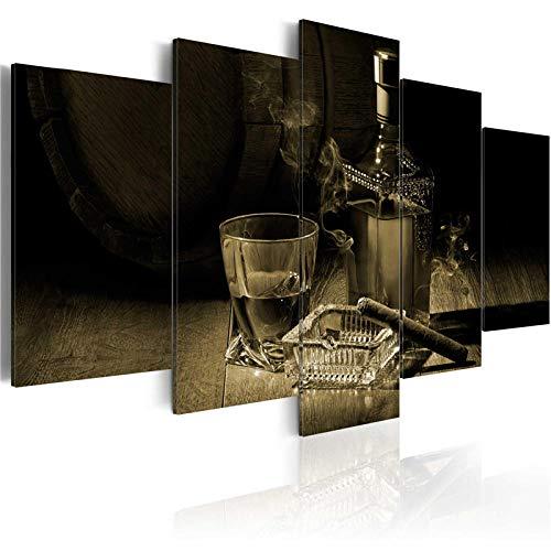 CSDECOR Cuadro Impresión Lienzo Pintura, 200X100 Cm 5 Piezas Moderno Abstracto Lienzo Impresión Cigarros Pintura Vino Carteles E Impresiones Gafas Arte De Pared Cuadros para Decoración De Bar