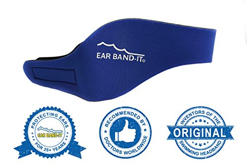 Ear Band-It Swimming Headband - Invented by Physician - Keep Water Out, Hold Ear Plugs in - The Original Swimmer's Headband - Doctor Recommended - Secure Earplugs (Blue, Medium (Ages 4-9))