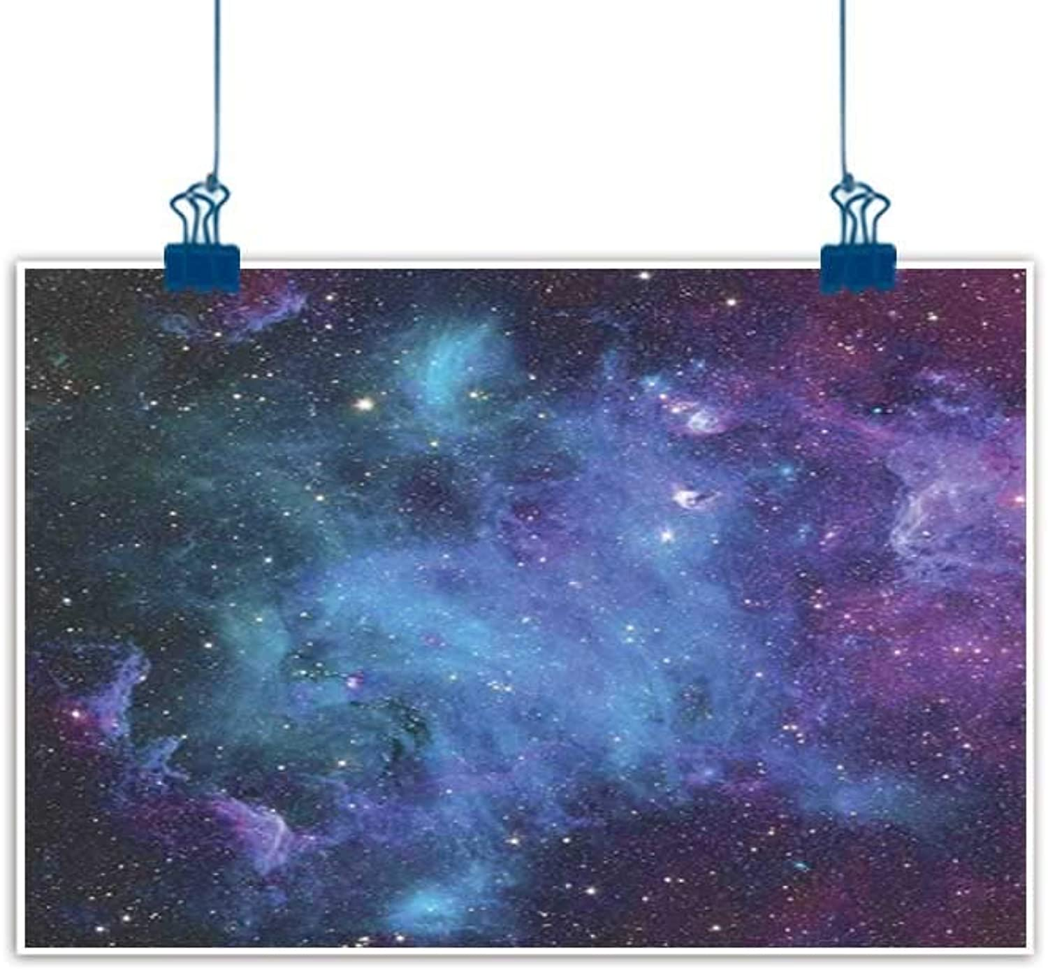 Simple Life Minimalist Space Decorations,Galaxy Stars in Space Celestial Astronomic Planets in the Universe Milky Way Print,Navy Purple for Boys Room Baby Nursery Wall Decor Kids Room Boys Gift 48 x32