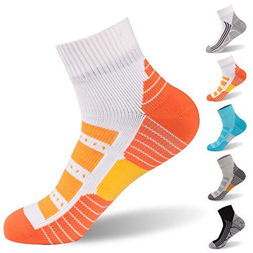 Athletic Running Socks for Women, RANDY SUN Socks Waterproof Fashion Socks Ultra Performance Ankle Bike Socks, 1 Pair-Orange Large