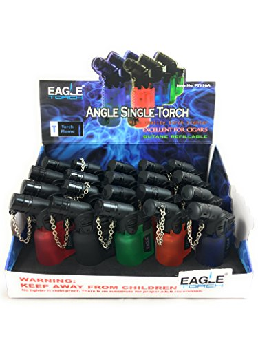 Eagle Angle Single Torch Lighters Small 20-Pack Box on Tray