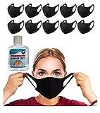 10 Face Masks, Washable Reusable Face Masks | 1 x Hygienics 100ml Hand Sanitiser Gel 70% Alcohol Kills 99% Germs | Bike Cycle Face Masks Cloth | Non-Medical Black Fabric Breathable Face Mask (10 Pack)